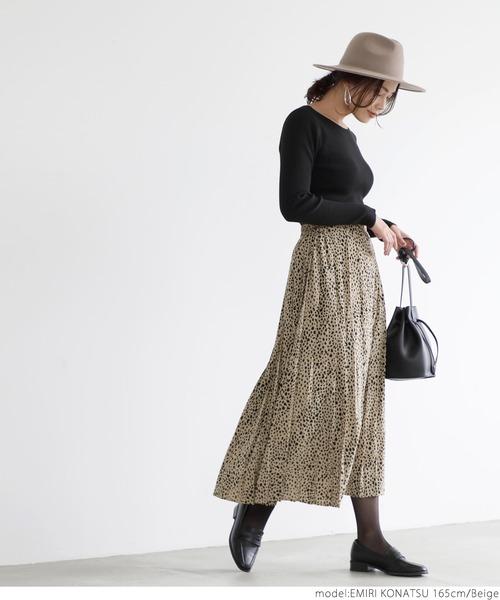 レオパード風プリーツスカート