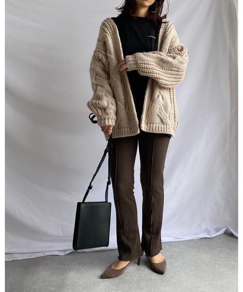 [wears] ざっくり ローゲージ ケーブル編み オーバーサイズ ニットカーディガン