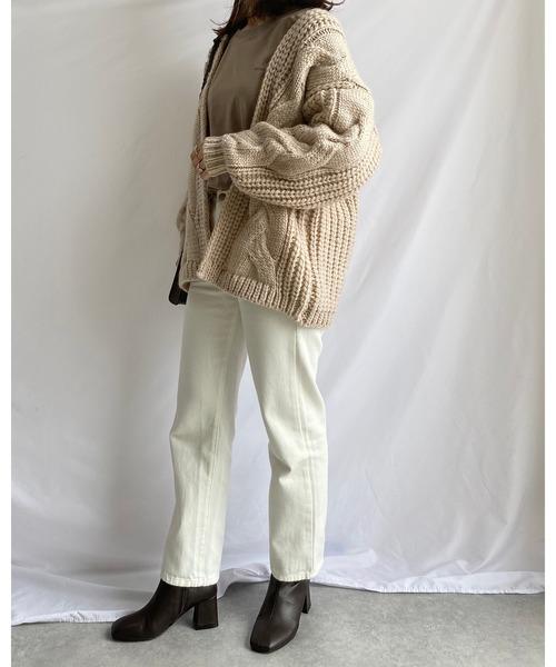 [wears] ざっくり ローゲージ ケーブル編み オーバーサイズ ニットカーディガン1