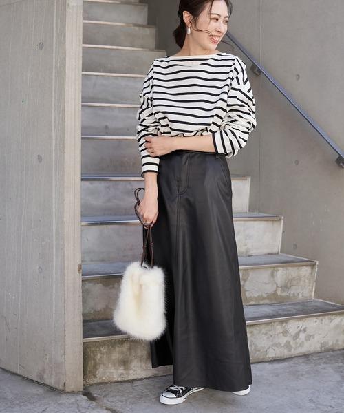 [CIAOPANIC TYPY] フェイクレザーAラインスカート