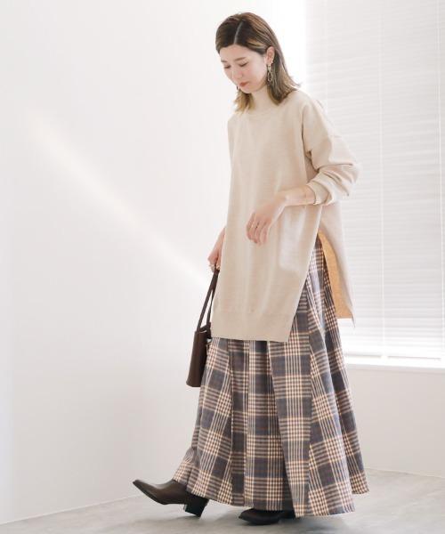 [reca] チェックロングフレアスカート