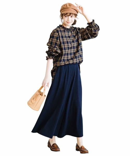 [FELISSIMO] リブ イン コンフォート スカートみたいなやわらか微起毛カットソーガウチョパンツ