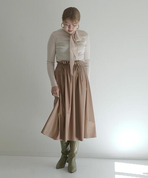 ライトフェイクレザー フロントギャザースカート