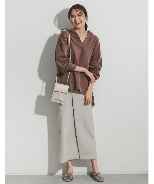 [近藤千尋さん着用][低身長向けSサイズ対応]ヴィーガンレザーラップ風タイトスカート