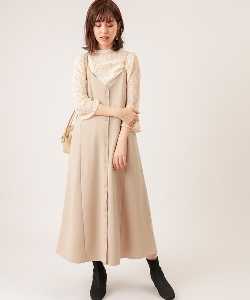 [natural couture] モクロディフレアキャミワンピース