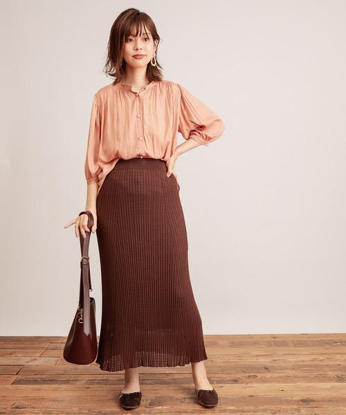 [natural couture] 【WEB限定カラー有り】パール釦とろみサテン7分袖ブラウス