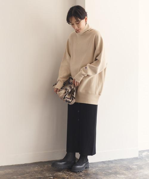 【INもOUTも】【一部WEB限定】【セットアップ対応】タック編みニットタイトスカート