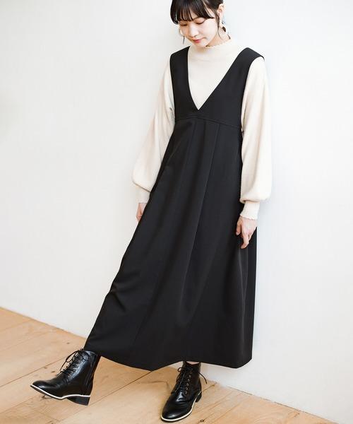 [haco!] 長め丈登場!Tシャツにもニットにもずーーーっと着られて便利なジャンパースカート