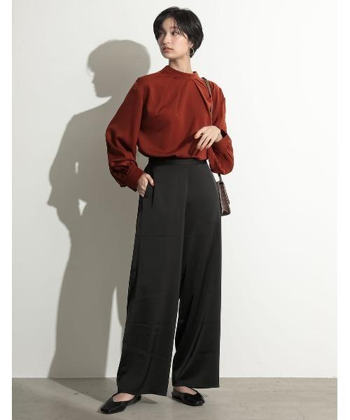 [Re:EDIT] [2020A/W COLLECTION][星玲奈さん着用]バンドカラー2WAYボリュームスリーブサテンブラウス ドレスシャツ