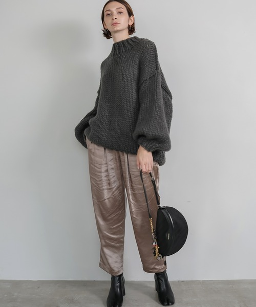 [chuclla] 【chuclla】【2020/AW】Big silhouette wool hand made knit sb-3 chw1355