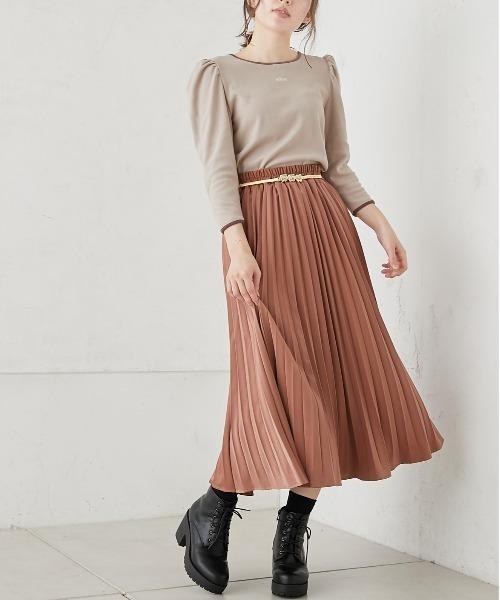 [OLIVE des OLIVE] ベルト付アコーディオンスカート