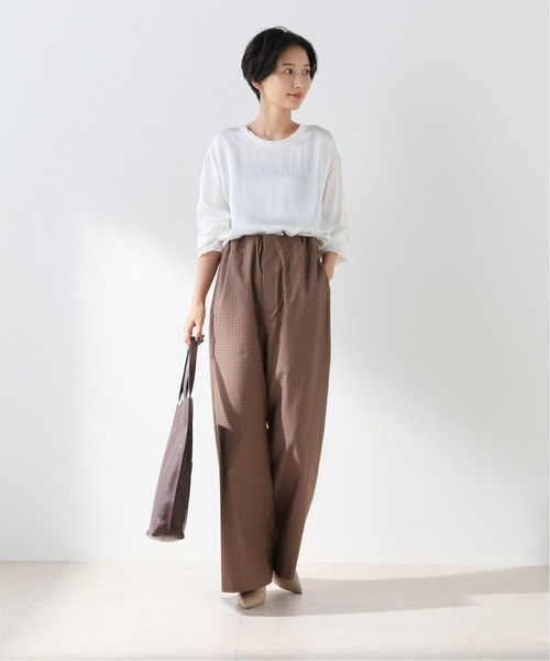 [Spick & Span] 【ATON】 COTTON SILK EASY STRAIIGHT PANTS◆