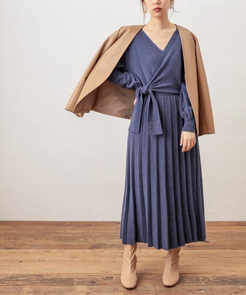 [natural couture] 【WEB限定】カシュクールリボンワンピース
