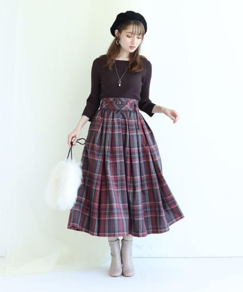 [Apuweiser-riche] サッシュベルト付チェックタフタスカート