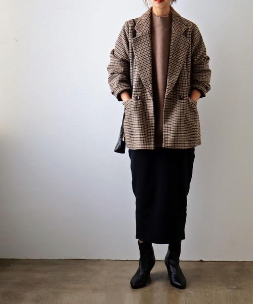 [Fashion Letter] チェック柄ダブルコート アウター コート ジャケット ビッグシルエット