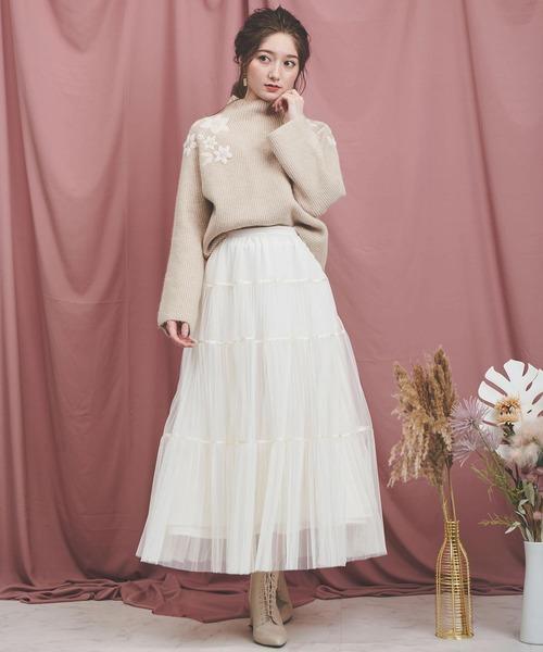 [Noela] ティアードチュールスカート
