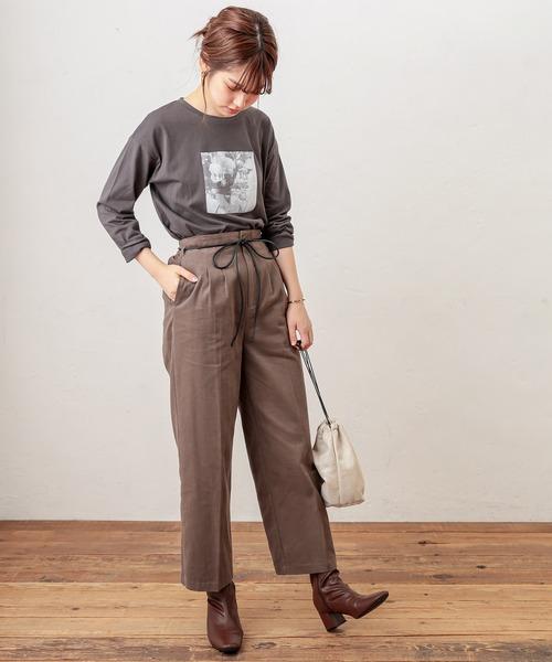 [natural couture] 起毛ツイルリボンベルト付きタックパンツ