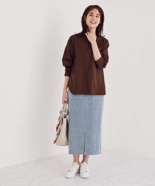 [ROPE'] 【SS/S/M/Lサイズあり】コーデュロイストレッチタイトスカート