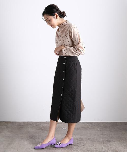 キルト前釦スカート