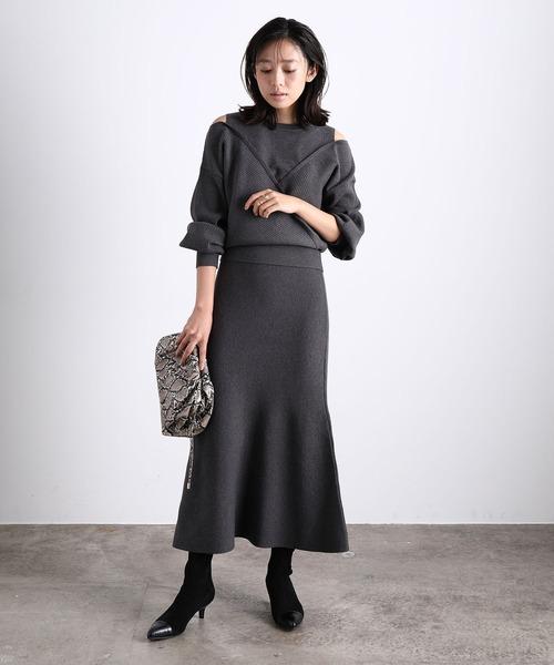 [ViS] 【美人百花11月号掲載】【低身長向けサイズ対応】【セットアップ対応】マーメイドニットスカート