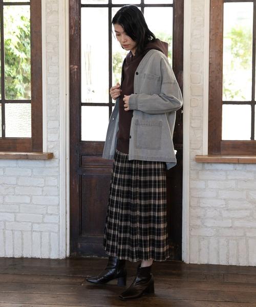 [LAKOLE] チェック柄プリーツロングスカート / LAKOLE