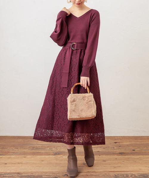 [natural couture] ニット×レース2WAYドッキングワンピース