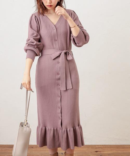 [natural couture] 【WEB限定】裾フリルワイドリブカーデワンピース