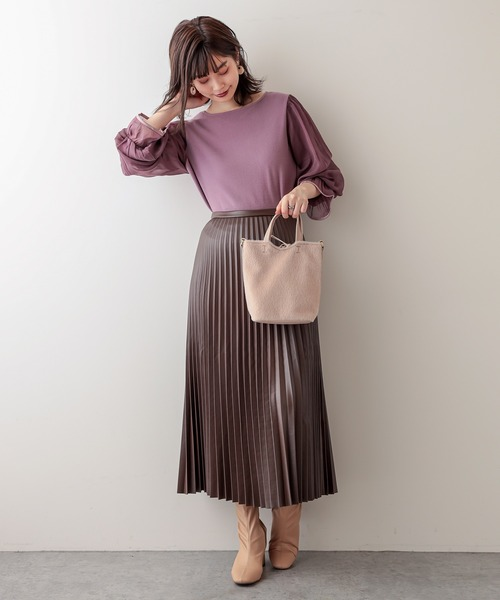 [natural couture] 【WEB限定】キラッとシアーキャンディスリーブニット