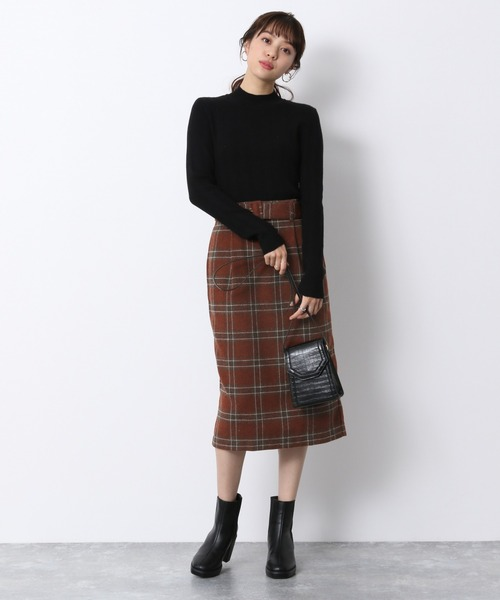 [Heather] チェックIラインスカート 918770