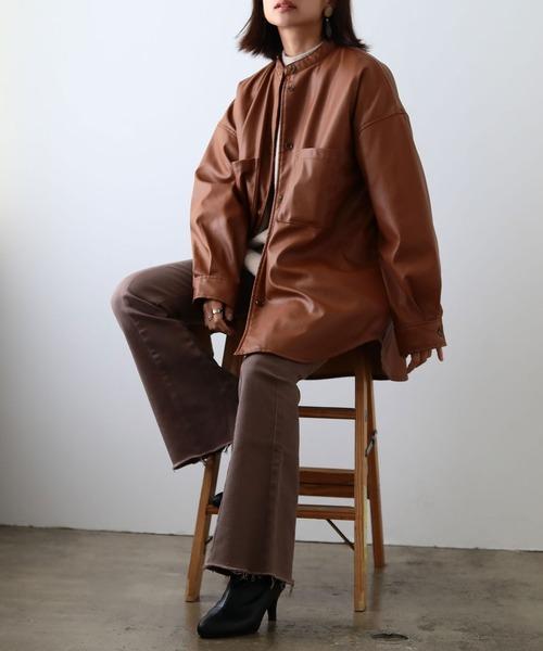 [Fashion Letter] オーバーサイズ レザーシャツジャケット 20AW 秋冬