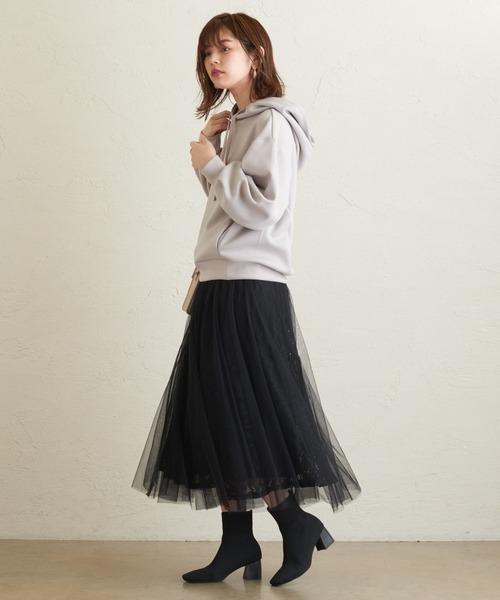 [natural couture] レース×チュールレディスカート