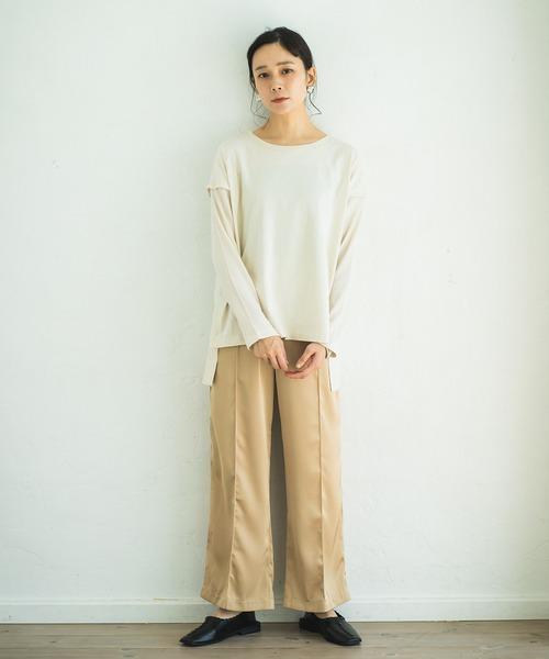 [pairmanon] ワッフル袖 切り替え レイヤード風 長袖 ロンT