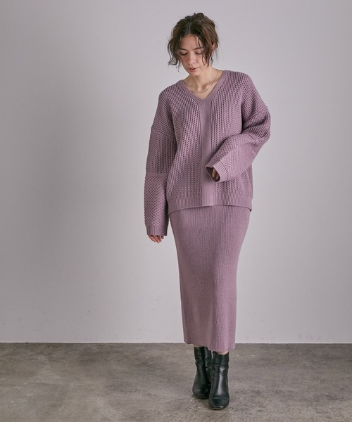 [ADAM ET ROPE'] 【セットアイテム】Vネックニット+リブタイトスカート