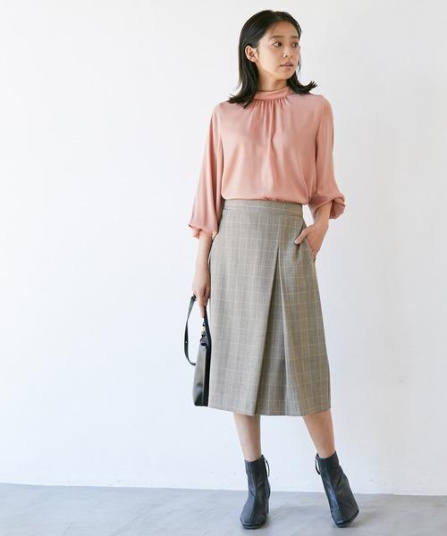 [ViS] 【低身長/高身長向けサイズ対応】【EASY CARE】ウォッシャブルフラノタイトスカート