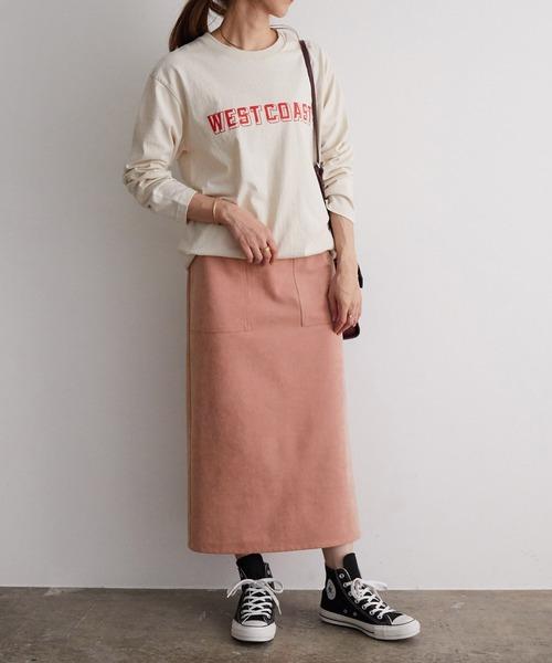 白スウェット×くすみピンクスカートコーデ