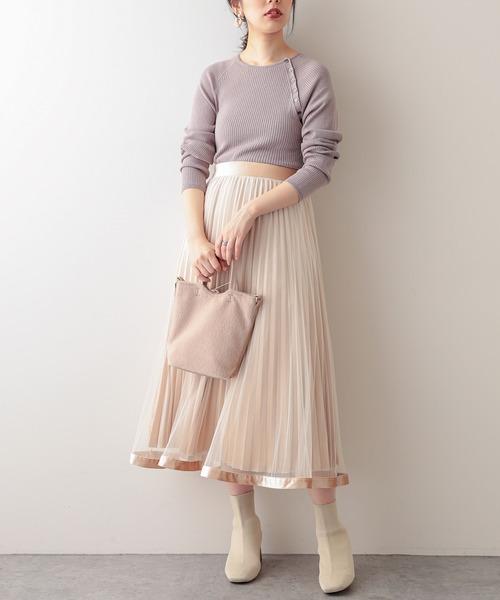 [natural couture] 【WEB限定】裾ベロアパイピングチュールプリーツスカート