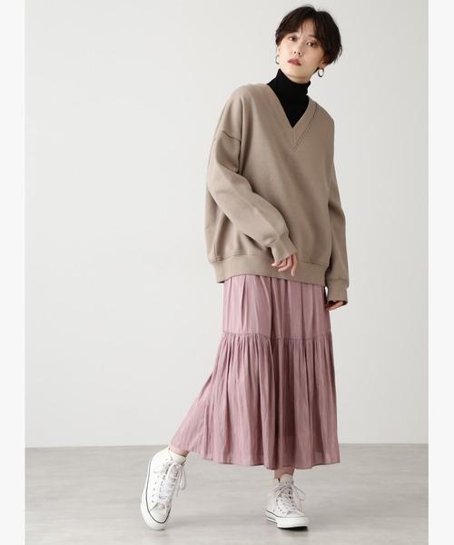 [N.(N. Natural Beauty Basic)] ◆サテンギャザーマキシスカート