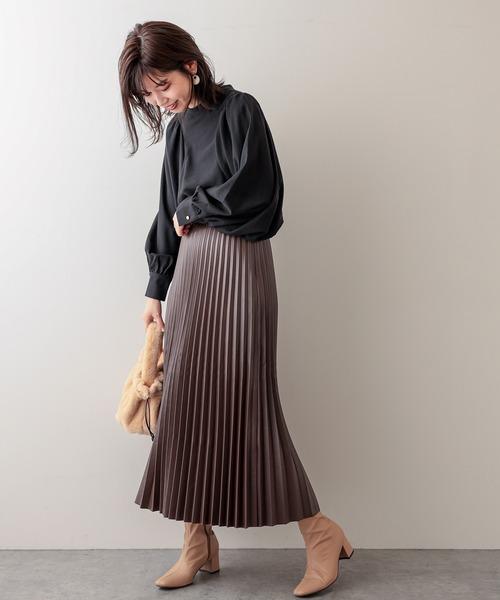 [natural couture] スタンドカラー袖コンシャスブラウス