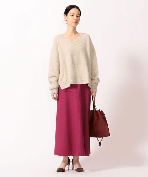 [SHIPS for women] ソリッドポケットウールスカート◆
