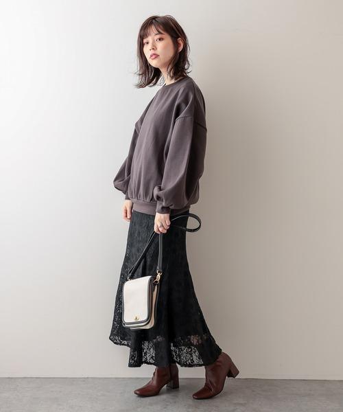 [natural couture] お花ベロアレースマーメイドスカート