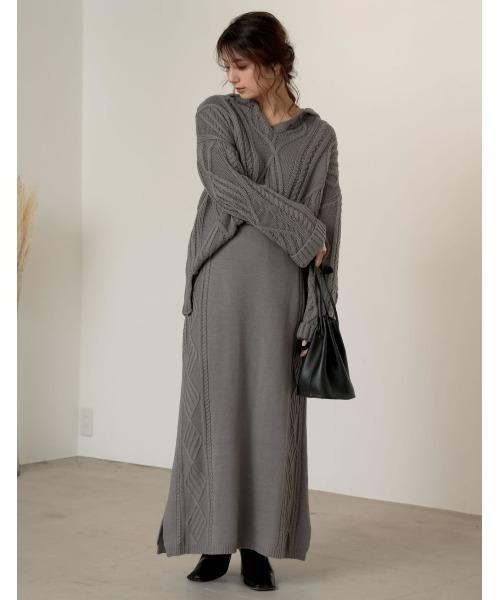 [Re:EDIT] [サステナブル][低身長向けSサイズ対応]バルキーニットケーブルタイトスカート