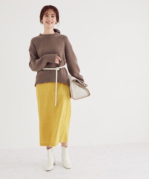 [ROPE'] 【WEB限定】コーディロイストレッチタイトスカート