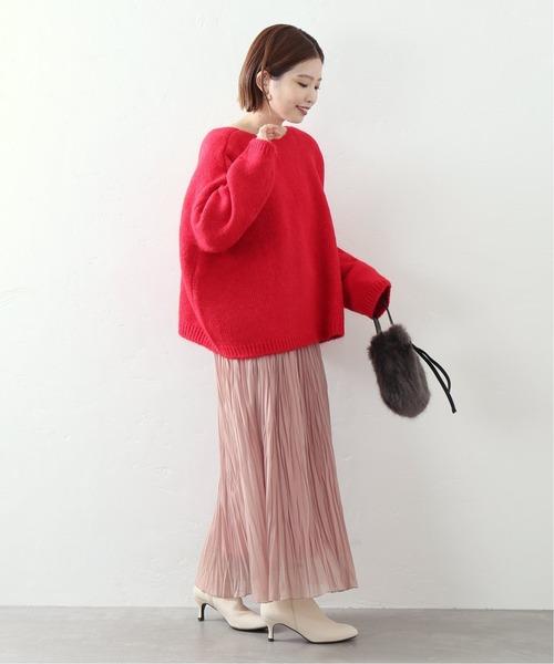 ピンクニット×くすみピンクスカートコーデ