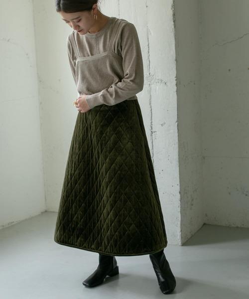 ベロアキルティングスカート