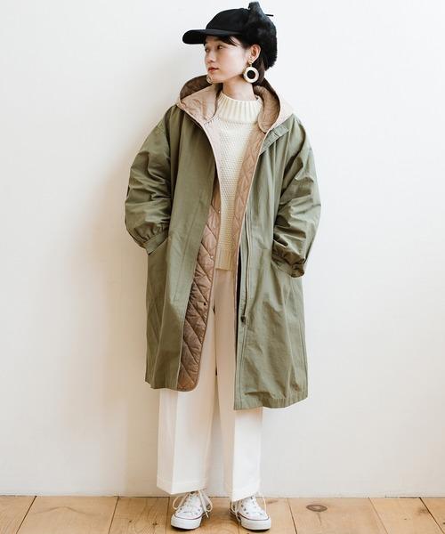 ファーフライト帽子×ミリタリーコート