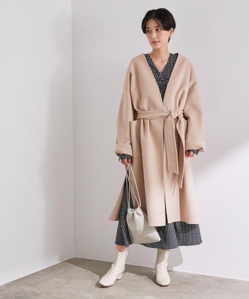 ショートヘアに似合う冬の服装|ワンピース