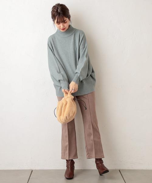 [natural couture] ポンチスエードセンタープレスパンツ