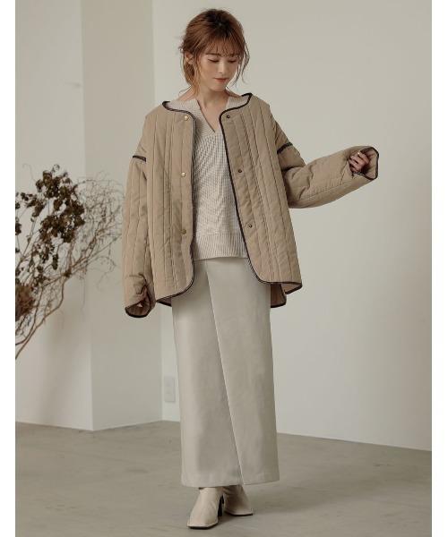 [Re:EDIT] パイピング中綿キルティングミドルジャケットコート