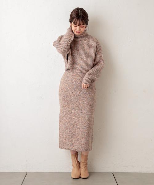 [natural couture] MIXヤーンIラインスカート