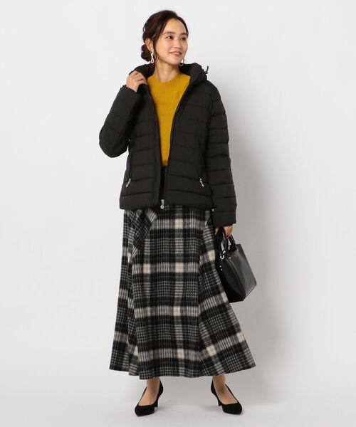 [NOLLEY'S] シャギーチェック切り替えスカート